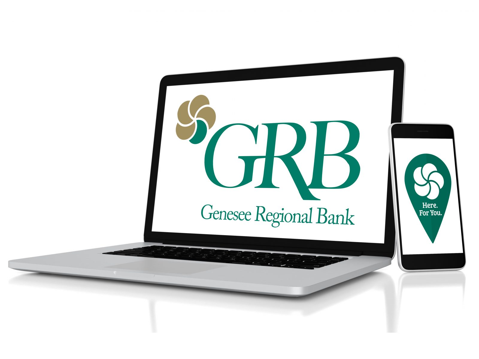 Computer and mobile phone with GRB logo