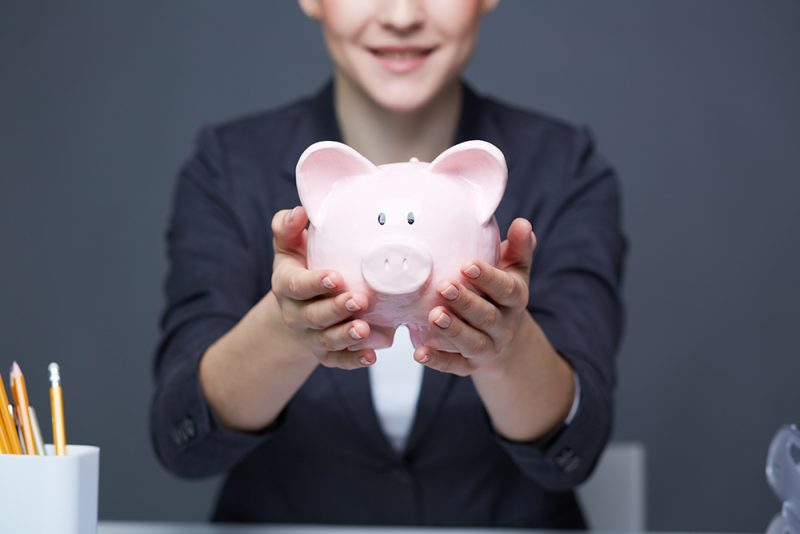 GRB Woman With Piggy Bank