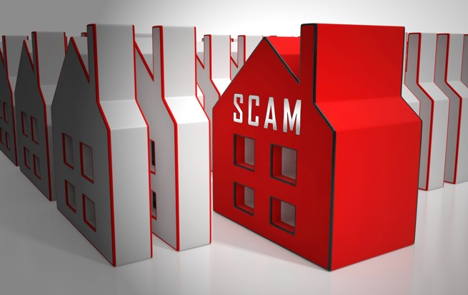 "Illustration with house in red and ""SCAM"" on the front."