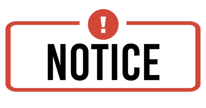 Notice sign with red exclamation point