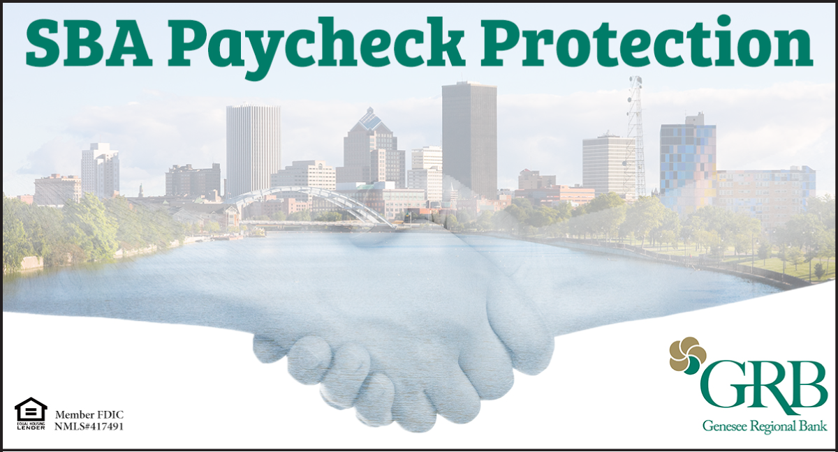 Graphic featuring Rochester skyline and two people shaking hands representing SBA PPP loan closings