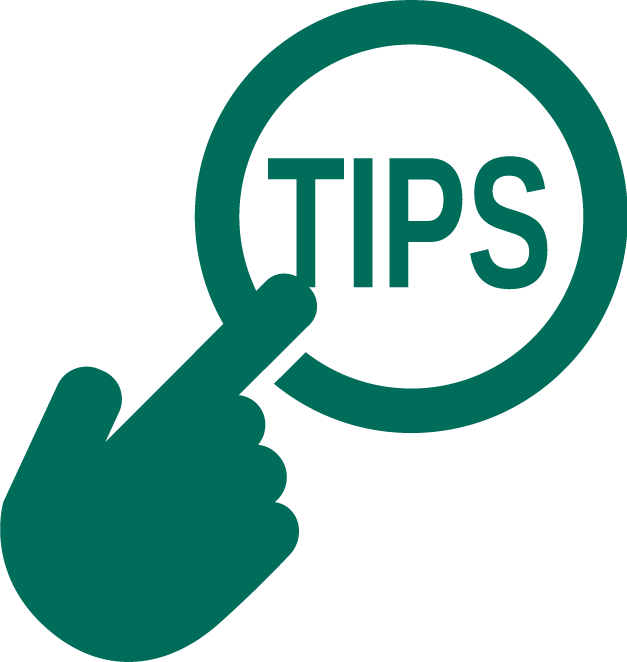 """Icon with hand pointing to button labeled """"Tips"""""""