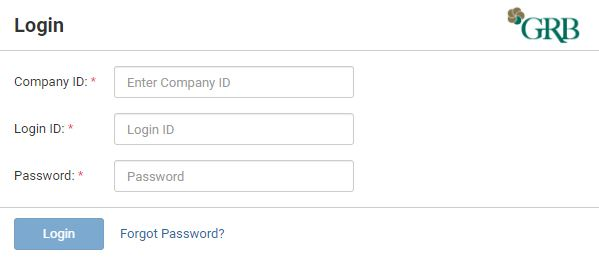 Sample of Login Screen for Treasury Management Account