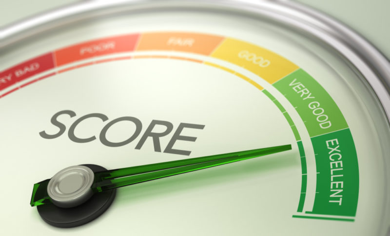 Credit score illustration with dial pointing to a rating of Excellent