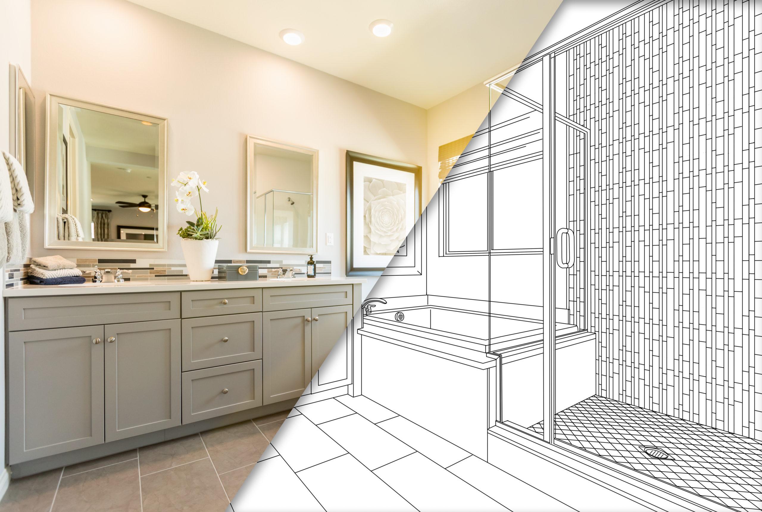 Image showing a bathroom half renovated, half blueprint